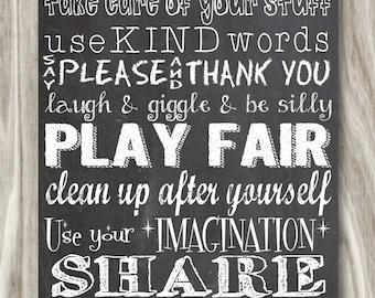 Playroom Rules Chalkboard Print- 12x24