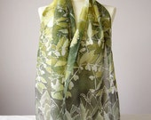 long silks scarves - lily of the valley scarf - flower silk scarf green - white green scarf - Solomon Seal - May bells - May lily