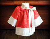 Vintage Red Mistletoe Boho Kimono Eyelet Lace Tunic Dress by Steady As She Goes baby girl 6 12 18 24 mo holiday long sleeve Christmas top