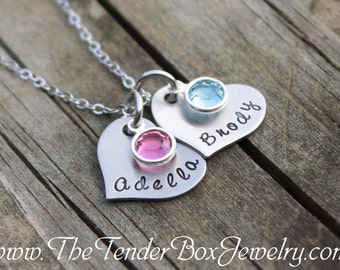 personalized stainless heart necklace hand stamped 2 heart pendant necklace with birthstones Mothers Day