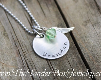 Personalized hand stamped name charm pendant necklace with wing and swarovski birthstone BC2BBA