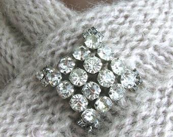 Vintage Silver Brooch, Rhinestone Brooch, 1950's Jewelry, Rhinestone Jewelry, Bridal Jewelry