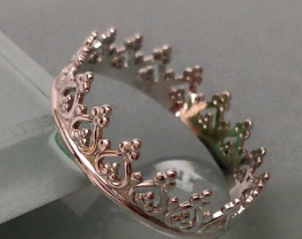 Sterling silver crown ring, Crown ring