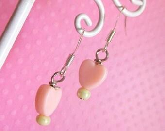 Pink Pastel Heart Earrings, Cute Sweet Lolita Fairy Kei Decora Jewelry Earrings for Women Girls and Teens