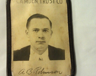 RARE Vintage Camden Trust Co. Employee Badge by Whitehead & Hoag A B Robinson Photo ID Copper