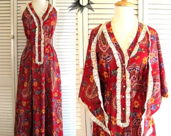 Vintage 1970's Denise L Red Paisley Crochet Lace Maxi Dress with Matching Shawl Size Small/Medium