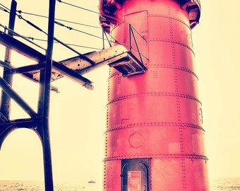 Red lighthouse etsy for Beach house designs south haven mi