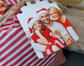 Photo Christmas gift tags with personalized message (Boutique Tags)
