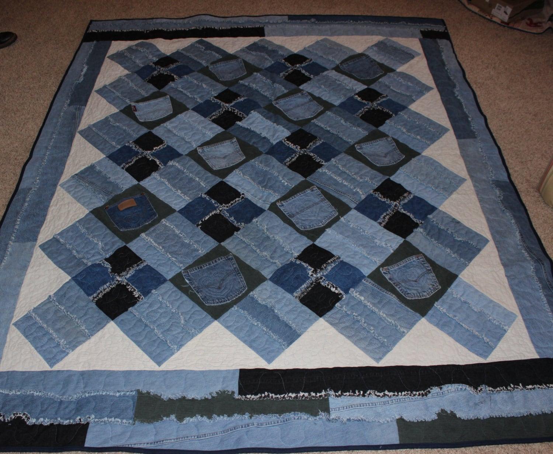 Memory Quilt Denim Rag Quilt Blue Jean Quilt Denim Quilt