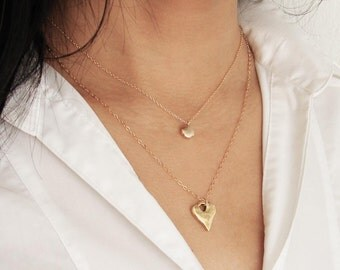 Rustic Heart Necklace. Antique Gold Plated Organic Heart on a 14K Gold FIlled Chain. Simple Everyday Jewelry by PetitBlue