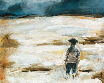Somewhere. Giclee Art Print, Mountain Painting, Girl In Field, thepaintedgrove 5 x 7