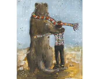 Animal Illustration Giclee Art Print, Huge Ferret, Whimsical, Best friends