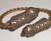 Vintage Snake head brass cuff bracelet Forearm jewelry arm candy