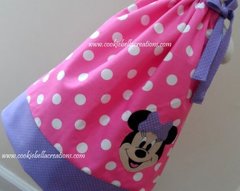 NEW Minnie Mouse Face Pink & Lavender Polka Dot Pillowcase Dress