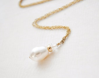 14kt Gold Fill Pearl Pendant Necklace, 14kt Gold Fill Wedding Necklace, Bridal Pearl Necklace, Gold Wedding Jewelry