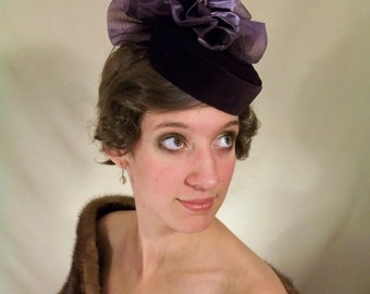 Plum Pillbox Hat