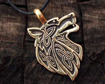 Bronze Wolf Head Celtic Spiritual Amulet Pendant 2-Sided Talisman Necklace