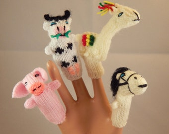 Handmade Collectible Alpaca Wool Knitted Farm Animals Finger Puppets set of 4