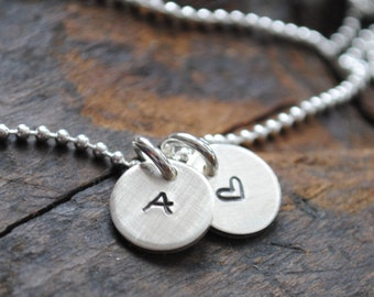 Itty Bitty Initial Necklace with Heart  .  Personalized Jewelry . Couples necklace