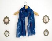 Dark Blue Greek Horse Cotton Scarf