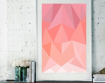 "Abstract Triangles Vector Art Print / Poster Pink 11"" x 17"""