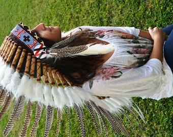 M42-Medium Chic Natural Colour Feather Headdress