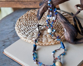 Blue Layered Necklace. Boho Jewelry. Bohemian Bracelet. Multistrand Beaded Necklace. Hippie Ethnic Style. Christmas Gift for her