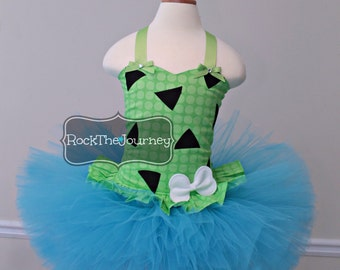Party Pebbles Flintstone Birthday Tutu Outfit - Girl Bedrock Cake Smash Bam Bam Halloween Costume Pageant Dress - Baby Toddler First 1st 2nd