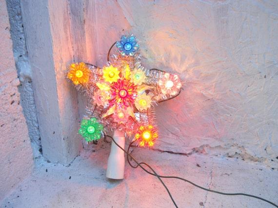 vintage mini christmas tree topper star light 11 lighted. Black Bedroom Furniture Sets. Home Design Ideas