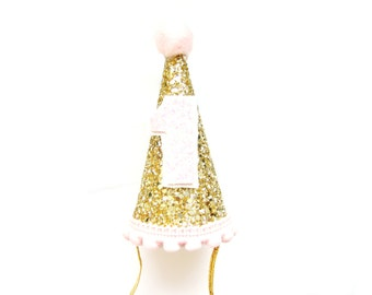 Mini Gold & Pink Glitter Birthday Party Hat - First Birthday, First Birthday Hat, Birthday Photo Prop, Cake Smash Hat, Cone Hat, Glitter Hat