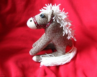 Sock Monkey Pony Horse - Heart Tattoo and Halter - Handmade Toy Stuffed Animal Doll Rockford Red Heel Socks