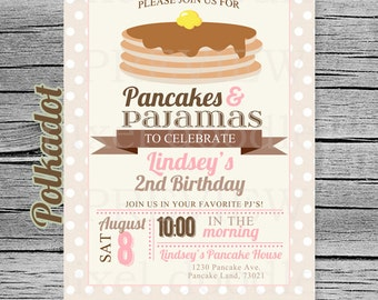 Pancakes and Pajamas Invitation - Vintage Pancakes - Vintage Pancakes and Pajamas Invite - PJ Party - Pancake theme - Digital Printable