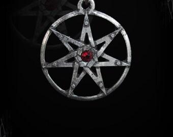 Handmade heptagram, fairy star with swarovski, gothic pendant, wicca, gothic jewelry, medieval necklace, medieval jewelry, pagan