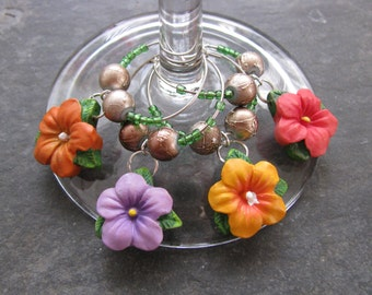 Flower Wine Glass Charms - Set of Four Hibiscus Charms