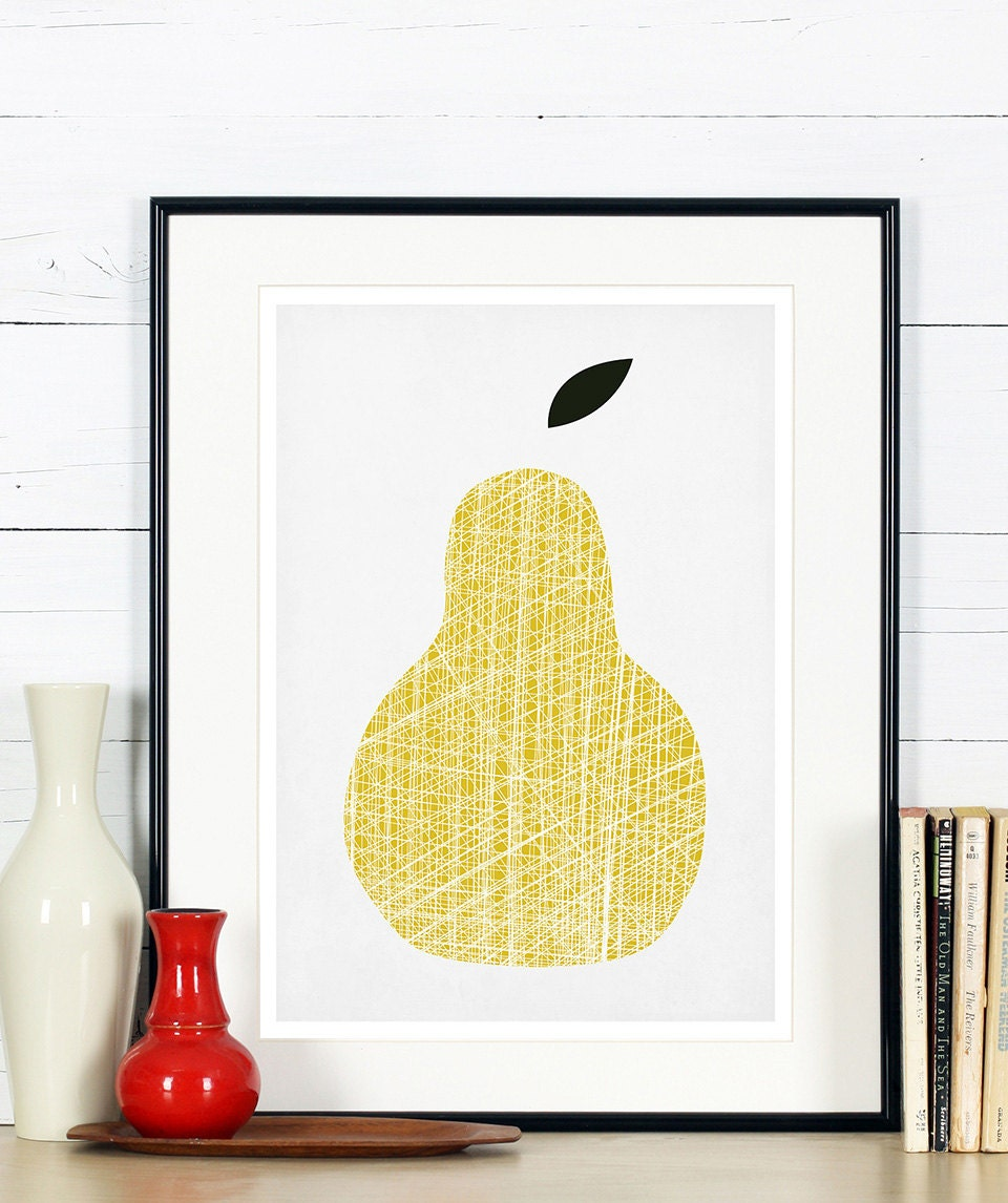 Fruit retro poster yellow pear minimalist design kitchen for Decoration retro cuisine