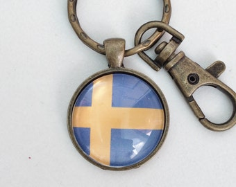 Sweden Flag Key Chain Bag Charm KC125