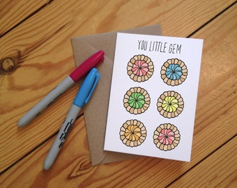 You little Gem Illustrated Iced Gem Greetings Card