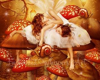 cute little fairy sisters sleeping on mushrooms art print