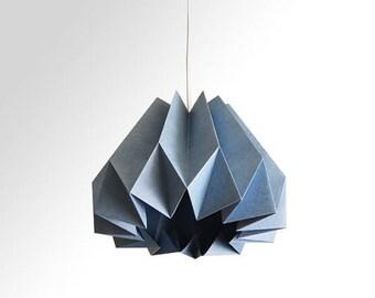 Pumpkin / Origami Paper Lamp Shade - Slate Blue
