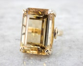 Large Vintage Yellow Gold and Citrine Statement Ring - 2JCLX3-P