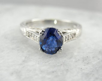 Gorgeous Ceylon Sapphire And White Gold Engagement Ring YC15VM-P