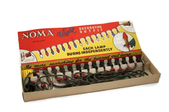 Noma Christmas Tree Lights in Original Box, Cloth Cord, Vintage 1950s Christmas Decoration