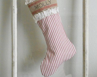 Red Ticking Christmas Stocking with Burlap and Canvas Accent