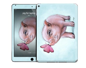 Mini Pig iPad skin for iPad Air 2, pig tablet skin, kids ipad skin, pig ipad skin, animal ipad skin, iPad Air 2, teacup pig blue ipad skin