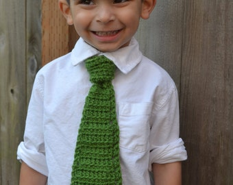 Crocheted Green Necktie with Adjustable Strap Toddler/Young Child Ready to Ship