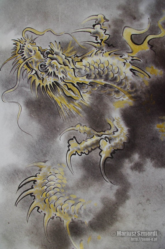 Dragon japan fantasy art chinese painting watercolor large art for Japanese dragon painting