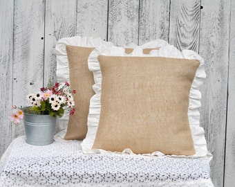 TICKING RUFFLE Pillow Cover Throw Pillow Cover 20 x 20