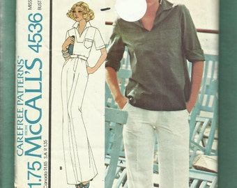Vintage 1975 McCalls 4536  Designer Cinnamon Casual Yeaching Top & Pants Size 12