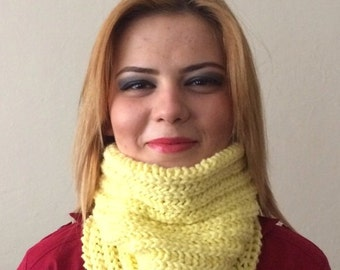 yellow knit infinity  scarf yellow circle scarf yellow hat cap