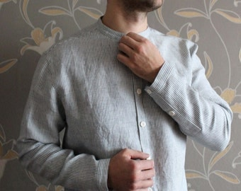 Slim Cut Linen Handmade Men's Shirt